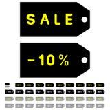 Label ou étiquette ou contrôle ou plaque d'identification gris noir Photo stock