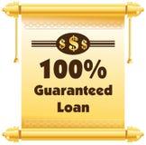 label ou insigne de prêt garanti de 100% d'isolement sur le CCB blanc Images stock