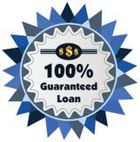 label ou insigne de prêt garanti de 100% d'isolement sur le CCB blanc Images libres de droits