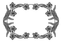 Label ovale noir et blanc avec des fleurs Image stock