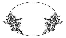 Label ovale noir et blanc avec des fleurs Images libres de droits