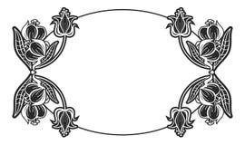 Label ovale noir et blanc avec des fleurs Photos stock