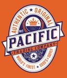 Label Pacifique de style americana de vintage Photographie stock libre de droits