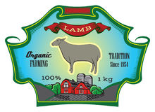 Label for packing Lamb with sheep. Vector illustration Royalty Free Stock Photography