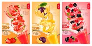 Label of peach juice splash in a glass. Stock Image