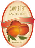 Label with peaches. Royalty Free Stock Photography