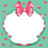 Label with a pink bow and hearts Stock Photography