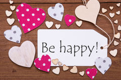 Label, Pink Hearts, Text Be Happy Stock Photo
