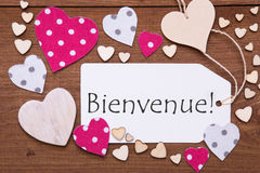 Label, Pink Hearts, Text Bienvenue Means Welcome Stock Photography