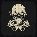 Label with pistons snake and skulls Stock Images