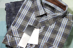 Label of Plaid shirts Stock Photo