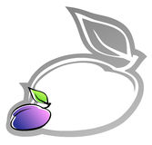 Label with plum Stock Photography