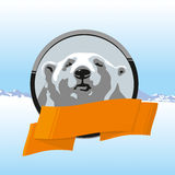 Label polar bear with orange ribbon. Label with the north polar bear and orange ribbon Stock Photo