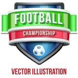 Label pour la compétition sportive du football lumineux Photo stock