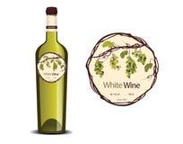 Label pour le vin blanc et un échantillon placé sur la bouteille illustration stock