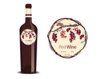 Label pour le vin et un échantillon placé sur la bouteille illustration de vecteur