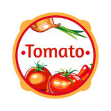 Label pour un ketchup de produit, sauce Photographie stock libre de droits