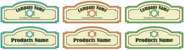 Label for the product or company. Different labels for a product or company Stock Photos