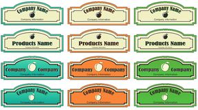 Label for the product or company. Different labels with apple for a product or company Stock Photography
