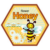The label on the product honey. Labels for honey with bee image Stock Image