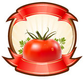 Label for a product (ketchup, sauce) with  illustr. Ation of tomato Royalty Free Stock Photography