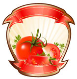 Label for a product (ketchup, sauce) with illustra. Tion of tomatoes Stock Photos