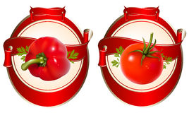Label for a product (ketchup, sauce) with photorea. Listic  illustration of tomato and pepper Stock Photo