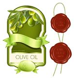 Label for product. Olive oil. Vector illustration. Label for product. Olive oil Royalty Free Stock Images