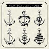 Label réglé par ancres nautiques de vintage Illustration Stock