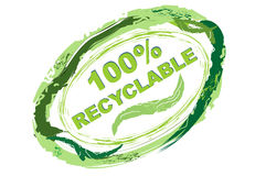 Label 100 % recyclable. Logo in grunge style for recyclable material Royalty Free Stock Photography