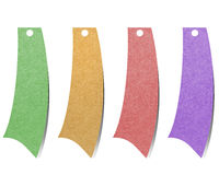 Label recycled paper craft for make note stick. On white background Stock Photography