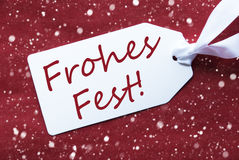Label On Red Background, Snowflakes, Frohes Fest Means Merry Christmas Stock Images