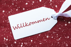 Label On Red Background, Snowflakes, Willkommen Means Welcome. One White Label On A Red Textured Background. Tag With Ribbon And Snowflakes. German Text royalty free stock images