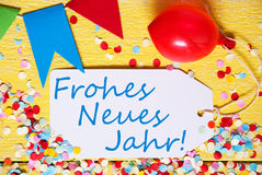 Label, Red Balloon, Frohes Neues Jahr Means Happy New Year Stock Photo