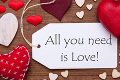 Label, Red Hearts, Flat Lay, All You Need Is Love Royalty Free Stock Photos