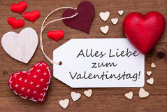 Label With Red Hearts, Valentinstag Means Valentine Day Royalty Free Stock Photography