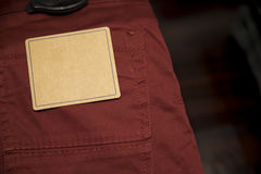 Label in red pants. Trouser in store Royalty Free Stock Images