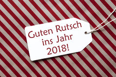 Label, Red Paper, Guten Rutsch 2018 Means Happy New Year Stock Image