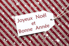 Label On Red Paper, Snowflakes, Bonne Annee Means New Year Royalty Free Stock Photos