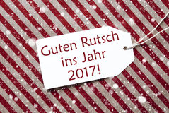 Label On Red Paper, Snowflakes, Rutsch 2017 Means New Year Royalty Free Stock Photography