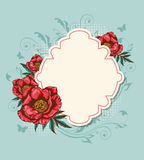 Label and red peony Royalty Free Stock Images
