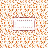 Label on red white pattern with crescents of moon and stars Royalty Free Stock Images