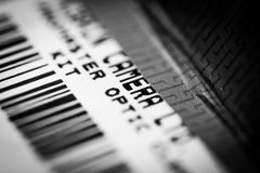 Camera gear label and bar code. A label with references to camera and camera gear Royalty Free Stock Photo