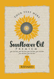 Label for refined sunflower oil with a jug Royalty Free Stock Image