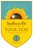 Label for refined sunflower oil with sunflower Stock Photos