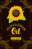 Label for refined sunflower oil with sunflower Stock Image