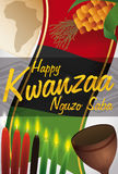 Label with Representative Elements for Kwanzaa Celebration, Vector Illustration. Label with some traditional symbols for Kwanzaa celebration: corn, colored Stock Photography