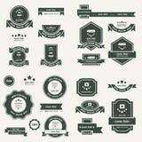 Label And Ribbon template design  set black color Stock Image