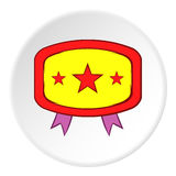 Label with ribbons icon, cartoon style Royalty Free Stock Photo