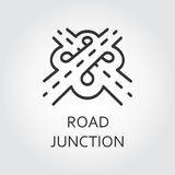 Label of road junction, icon drawn in outline style. Label of road junction, icon in outline style. Transport interchange concept. Sign drawn in outline style Stock Image